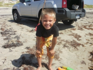 Our grandson, Hayden, Padre Island National Seashore