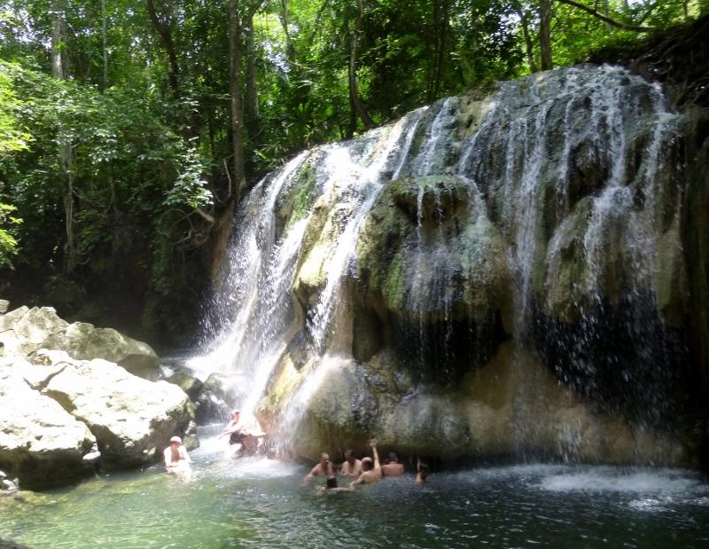 Cascade of hot water