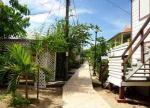 Main pedestrian walkway in Placencia