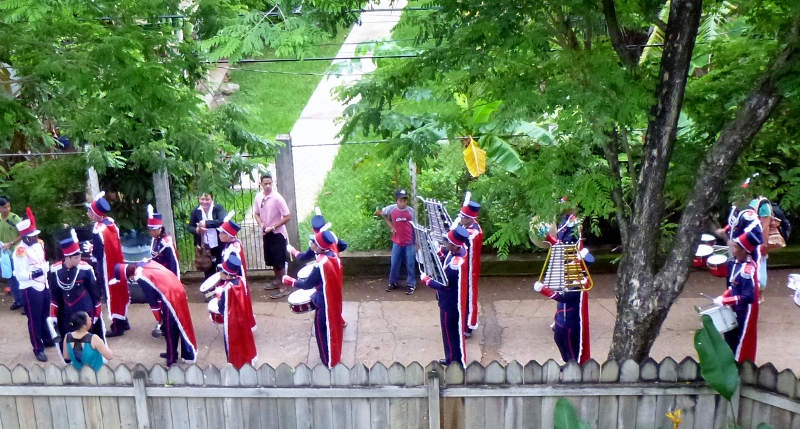 Independence Day in Honduras - Marching bands with drums and glockenspiels