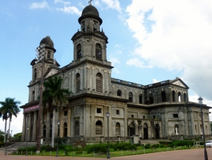 The old cathedral, damaged but still standing