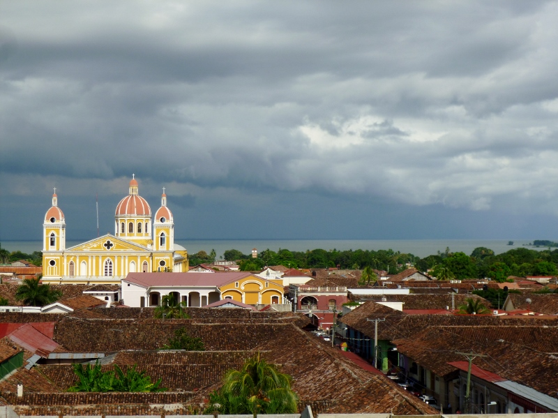 Afternoon storm clouds gather over La Catedral (Lake Nicaragua in background)