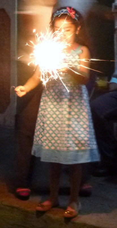 girl with a sparkler