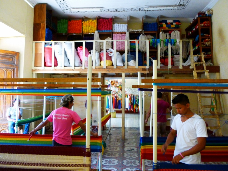 Weaving hammocks at Cafe Sonrisa