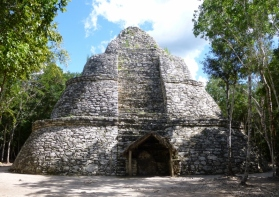 The watch tower at Coba ruins.