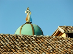 church spire over the roof - Granada