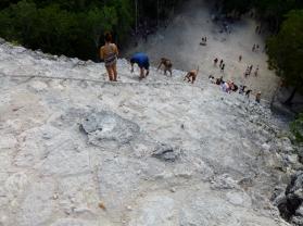 climbing a pyramid, Coba Ruins-Nohoch Mul Pyramid, Mexico