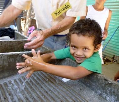 Snider handwashing before lunch at Pantanal, Nicaragua