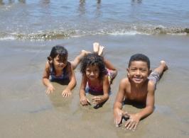 3 kids at Playa Gigante,Nicaragua