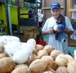 Husking coconuts - Mercado in Merida, Mexico