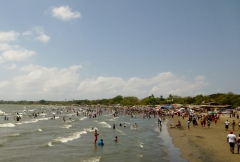 Beach on Lake Nicaragua at Rivas beginning of Semana Santa holiday