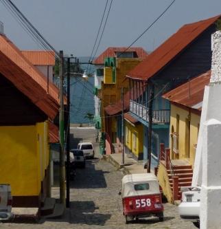 Cobblestone road leading to Lago Peten Itza'-Flores, Guatamala