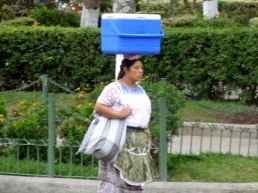 Mayan woman carrying a hamper - Antigua,Guatemala