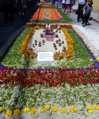 Alfombra of sawdust and flowers - Antigua
