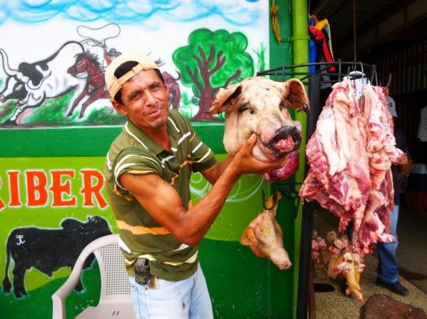 Pick of the litter - meat market at Jinotega,Nicaragua