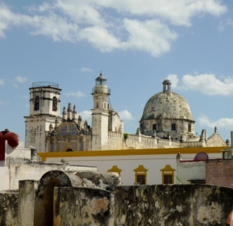 Rooftop view from the fort of a church - Campeche