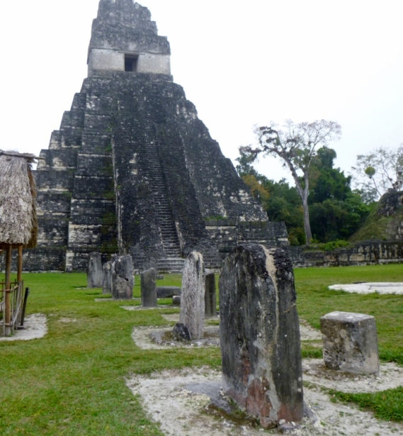 Templo I with stellae and alters - Tikal Mayan ruins