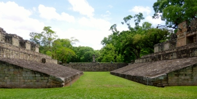 The ballcourt near the Gran Plaza - Copan Mayan Ruins