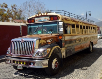 Chicken bus gleaming and polished - Antigua