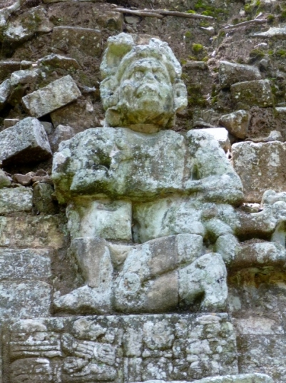Statuary in East Courtyard - Copan Mayan Ruins,Honduras