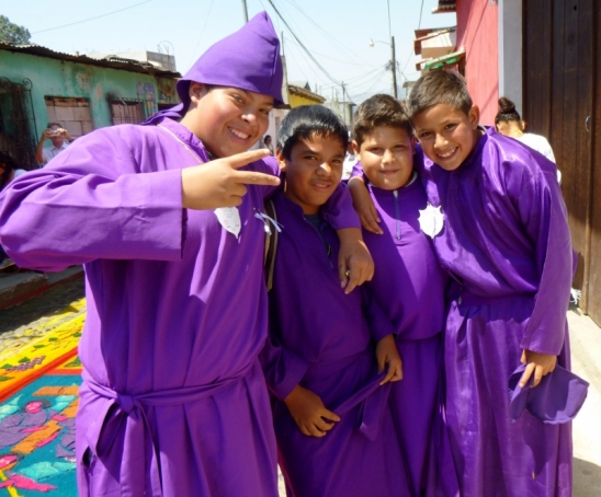 boys in lenten purple robes - Antigua,Guatemala