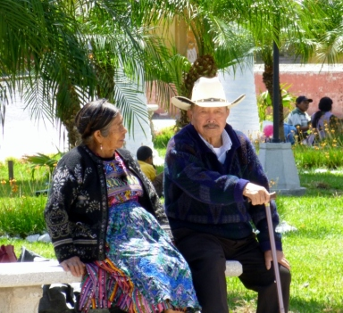 A couple in an Antigua park. Guatemala