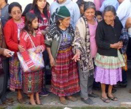 women in crowd at Lent procession - Antigua,Guatemala