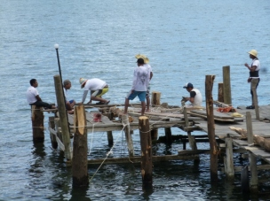 Building a dock - Driving piles at Lake Atitlan