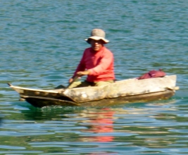traditional boat on Lake Atitlan,Guatemala