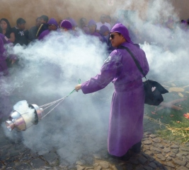 spreading incense at the Lent procession - Antigua