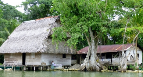 River homes at the entrance to the narrows - Rio Dulce
