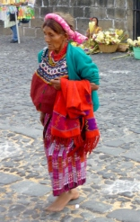 Mayan woman at the Cathedral - Palm Sunday- Antigua,Guatemala