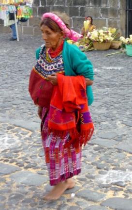 Mayan woman at the Cathedral - Palm Sunday- Antigua,Guatemala