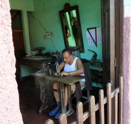 man at sewing machine - Granada, Nicaragua