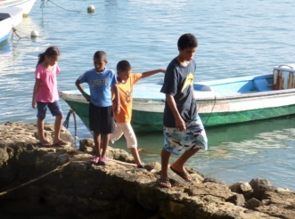 single file along the waterfront - Corn Island, Nicaragua