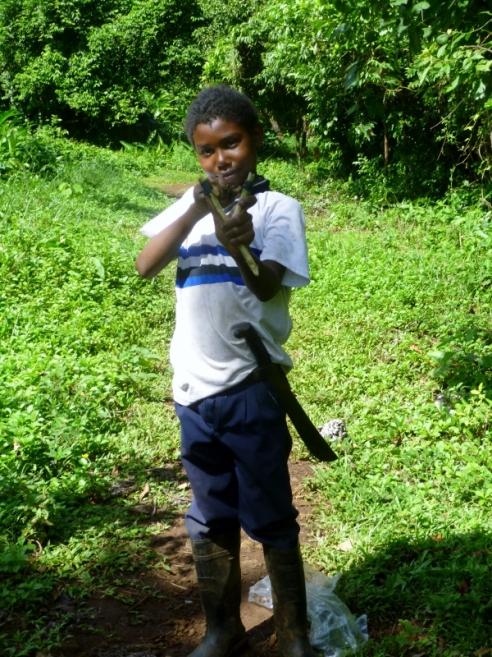 a homemade slingshot and a hunter - Big Corn Island, Nicaragua