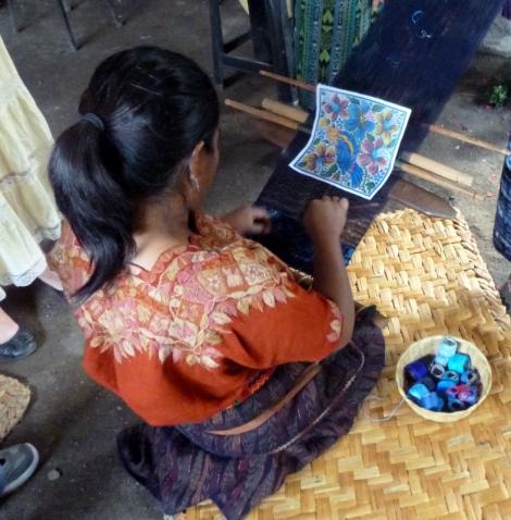 weaving with a back-strap loom - San Antonio Aguas Caliente