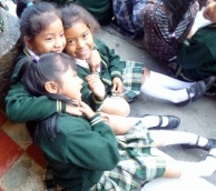 Three girls goofing after the assembly - Antigua,Guatemala