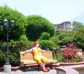Courtyard of McDonalds-16th Century ruins in background - Antigua,Guatemala