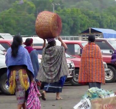 going to market in Antigua, Guatemala