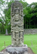A stelae in the Grand Plaza - Copan Mayan Ruins,Honduras