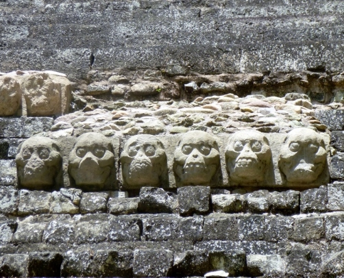 Skulls in the East Courtyard - Copan Mayan Ruins
