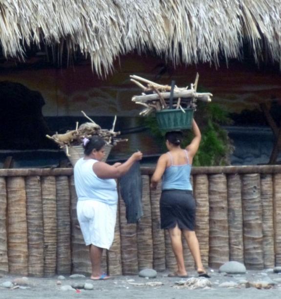 women gathering wood - El Tunco,El Salvador