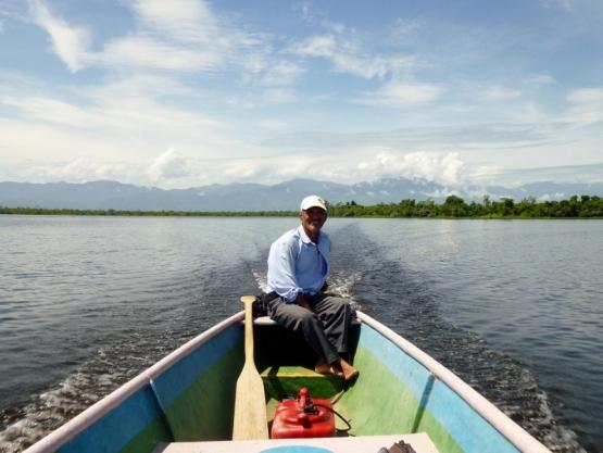 A happy man - Captain Benjamin on Lago Izabel near El Estor,Guatemala