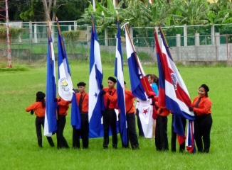 Preparing to present the flag-Honduran Independence Day - Utila