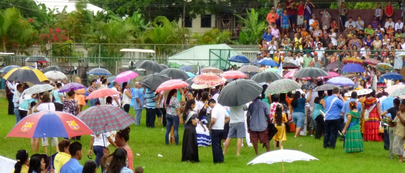Umbrellas at celebration - Utila
