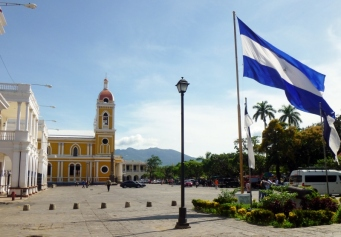 Flag in the park - La Catedral in the background - Granada