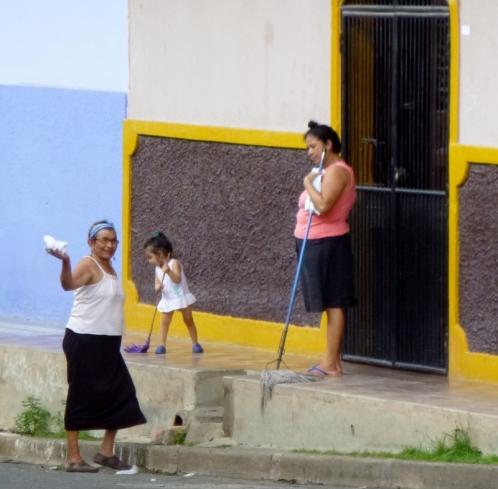 little girl sweeping - Granada,Nicaragua