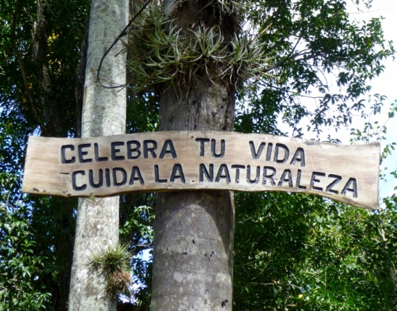Take care of nature and celebrate life - sign in central park - Atenas