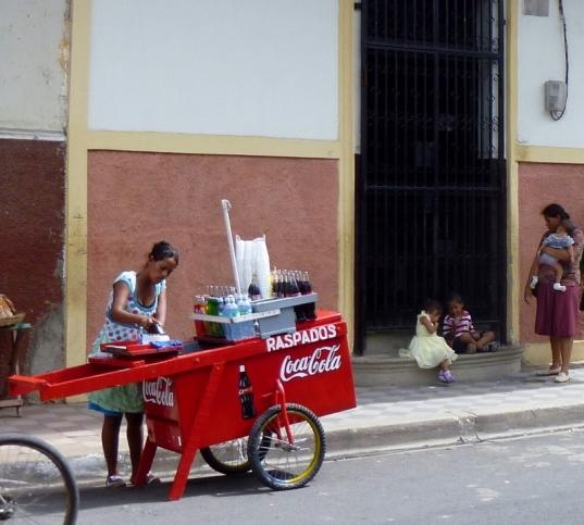 Drink cart parked near school - Granada